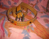 LAST CHANCE Vintage 80s Studded Rhinestone Camel Leather Belt M 32-36 in