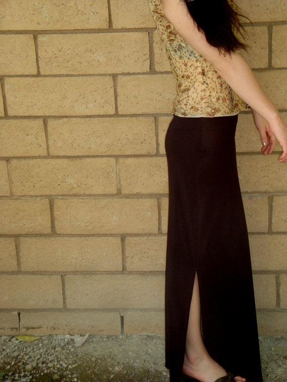 Vintage 90s Chocolate dark brown Sexy Fitted Stretch Slinky Maxi Skirt Size Medium nylon spandex