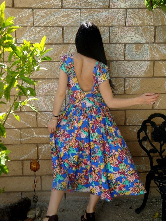 Vintage 80s backless DANCING GYPSY print bright pleated Sun Dress S M