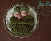 Newborn photo props - twins photo prop - crochet pea pod - twins gift  - baby shower gift
