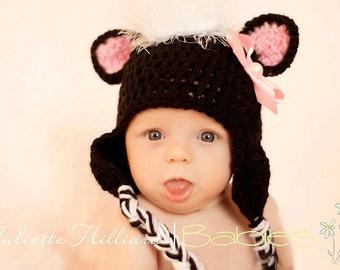 baby girl hat, baby boy hat, skunk hat, crochet baby hat, baby shower gift, baby shower gift, newborn hats, infant hat, newborn prop