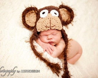 baby boy hat, monkey hat, monkey photo prop, monkey halloween costume, monkey costume, baby boy hats, baby girl hats, photo props for boys