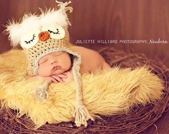 Crochet hat pattern , owl hat pattern , baby boy hat pattern , crochet pattern , photo prop pattern