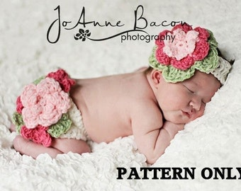 baby girl crochet pattern - photo prop crochet pattern - diaper cover crochet pattern