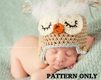 CROCHET PATTERN -Fuzzy brow owl , hat crochet patterns, baby hats , baby boy clothes