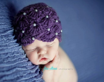 Crochet baby hat pattern - pearl fan hat  - crochet pattern, hat crochet pattern- photo prop pattern