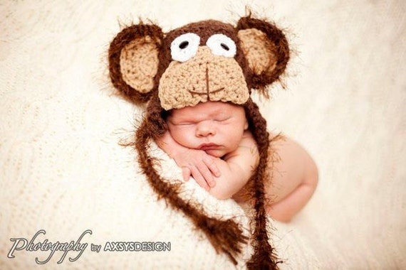 Crochet Monkey Hat Pattern - Hat crochet pattern - crochet patterns - Animal hat patterns - crochet photo prop pattern