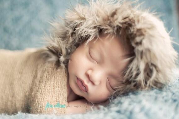 baby hats- crochet baby hat- fuzzy parka crochet hat - eskimo hat - baby props - unisex hat - infant hat - baby boy hat, baby girl hat