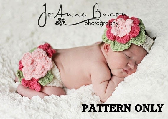 baby girl crochet pattern - photo prop crochet pattern - diaper cover crochet pattern