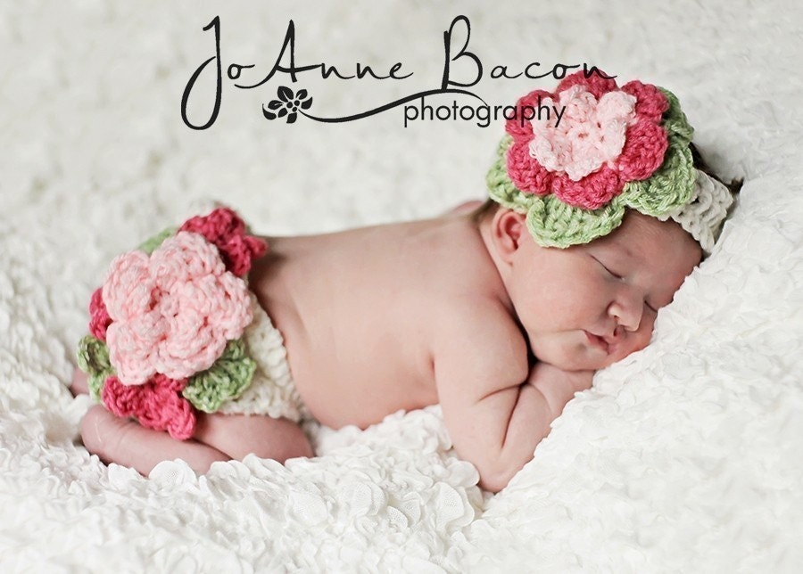baby girl clothes fancy flower diaper cover by CrochetMyLove