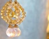 Citrine Earrings, Madeira Citrine, Madagascar Rose Quartz, Gem Circles Faceted Briolettes 14k Gold Filled PARISIAN DAWN by Moonsnail