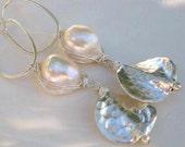 White Baroque Pearl Earrings Sterling Silver Karen Hill Tribe Hammered Medallion Discs Woven Hoops MOONLIT BEACH by Moonsnail
