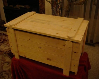 Unfinished tall pine Toy Box / Chest with monogram letter