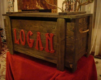 Wooden Toy Box / Blanket Chest with up to 5 letters