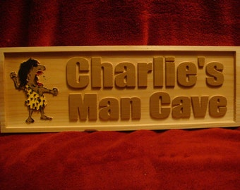 Personalized Custom Carved Man Cave Sign/ Cedar