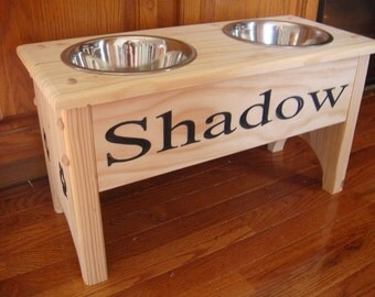 Unfinished Elevated Dog Feeder, with 2 quart bowls and personized with your dogs name