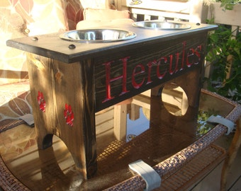 Finished Elevated Dog Feeder 18 inches high, with 2 quart bowls and personized with your dogs name