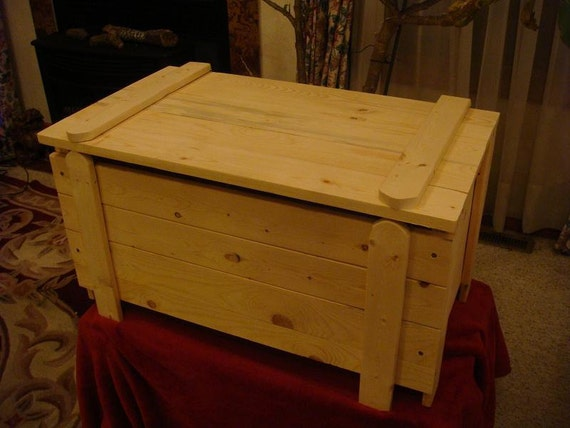 Items Similar To Unfinished Pine Toy Box Chest With