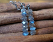 SALE!  Labradorite Stack Dangle Silver Earrings - 20% OFF