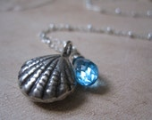 Ocean Blue & Shell Silver Necklace