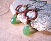 SALE!  Lime Green Chalcedony Copper Earrings - 20% OFF