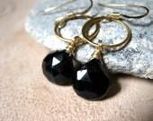 SALE!  Black Tourmaline, Gold Vermeil Circle Earrings - 20% OFF