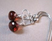 SALE!  Garnet Silver Heart Earrings - 20% OFF