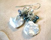 SALE!  Pearl & Iolite Silver Cluster Earrings - 20% OFF