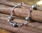 Sage Pearl & Garnet Silver Necklace