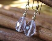 SALE!  Pink Amethyst Teardrop, Gold Earrings - 20% OFF