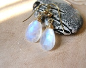 SALE!  Rainbow Moonstone Briolette, Gold Earrings - 20% OFF