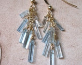 SALE!  Natural Aquamarine Crystal Waterfall, Gold Earrings - 20% OFF