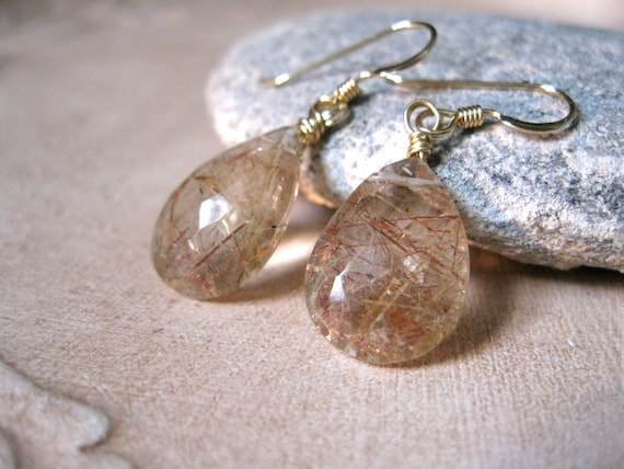 Sale rutilated quartz gold earrings for Golden rutilated quartz jewelry