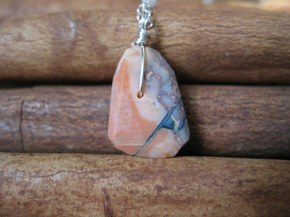 Peach Opal Nugget, Silver Necklace