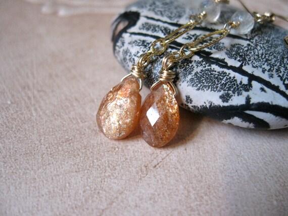 Sunstone & Moonstone, Gold Earrings