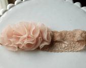 Nude cluster flower lace headband