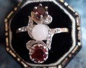 Antique Victorian Garnet Diamond and White Jade Ring
