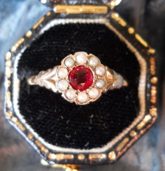Antique Victorian Ruby And Seed Pearl Ring