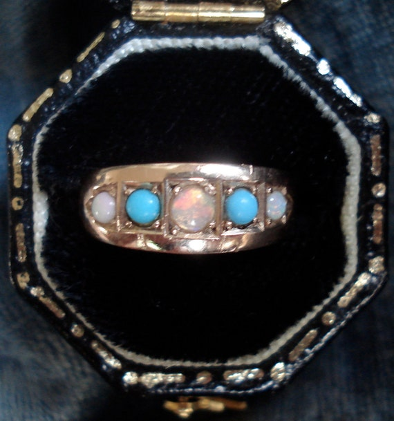 Antique Victorian Opal and Turquoise Ring