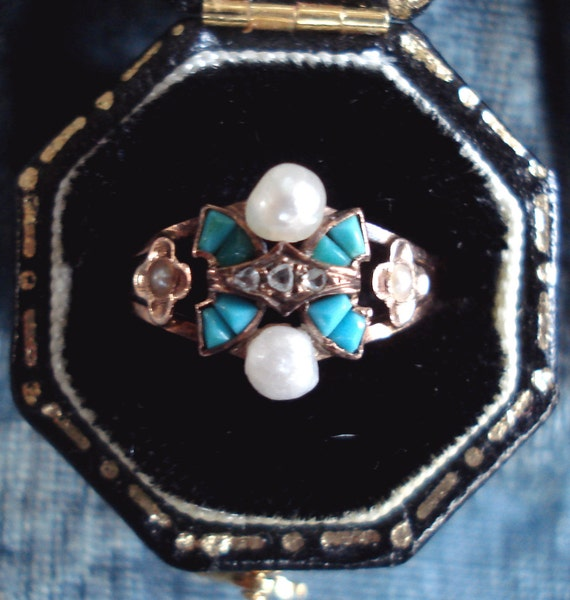 Antique Victorian Turquoise, Pearl and Diamond Ring