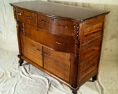Antique Sideboard with Bowed Front & Clawfeet