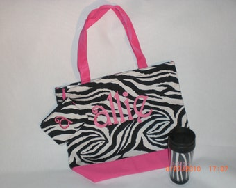 Black & White Zebra Tote Bag, Black/Red Zebra Tote, or Damask Black/Pink Tote, matching acryllic cup available