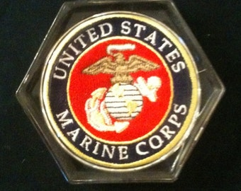 U. S. Marine Corp Acryllic Coaster, set of 4, custom boutique, embroidery,