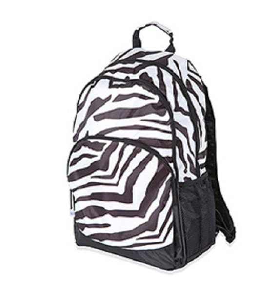Zebra Backpack from Room It Up, Sahara Stripe, Black and White monogrammed, embroideried with your name, customized