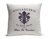 Decorative pillow - Pillow - Throw pillow - Accent pillow - Decorative throw pillow - Fleur de lis - cotton pillow - Purple and natural - gracioushome