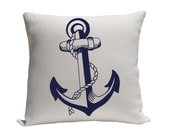 Anchor Pillow Covers,  Decorative Pillows,  Accent Pillows,  Nautical Pillows, Screenprint Pillow, 16 x 16 Inches,  White and Blue
