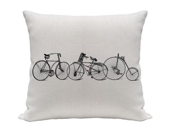 INVENTORY REDUCTION SALE Old Bicycles Printed Pillow Cover, 16 Inch Black and White Pillow