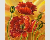 Art  Print FLOWERS Series Of Original SILK Painting, WATERCOLOR  Original, Giclee Print Large art print 13inX13in
