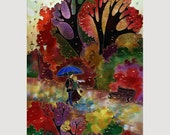 TING on Silk  SMALL Giclee Prints FALLALLEY  Series Size  13in X 8.5in Professional Media Luster Paper