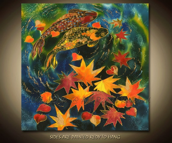 PAINTING on Silk ORIGINAL Fish and Pond  Series Size 24inX24in